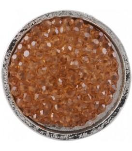 Ring met gele glaskraal inleg (flexibel)