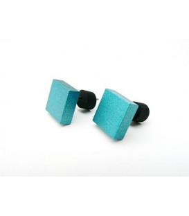 Blauwe vierkante oorknopjes oorbellen van Tjonge Jonge