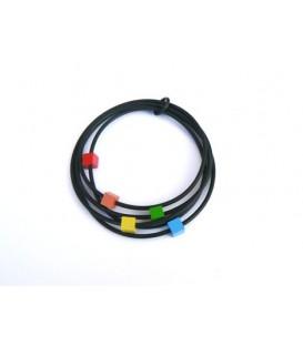 Tjonge Jonge gekleurde blokjes met zwarte koord armband