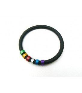 Tjonge Jonge gekleurde ringen met zwarte koord armband