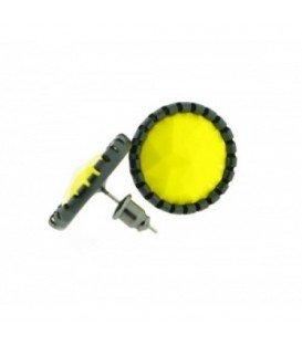 Gele oorbellen met zwarte rand (oorknopjes)