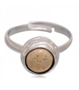 Mooie zilverkleurige ring met bruine steen (flexibel)
