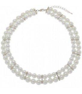 Korte kunstparel halsketting met strass steentjes.