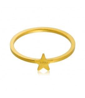 Goudkleurige dunne ring met ster