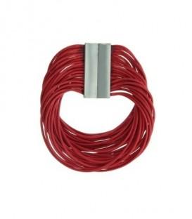 Rode waxkoord armband met magneet sluiting