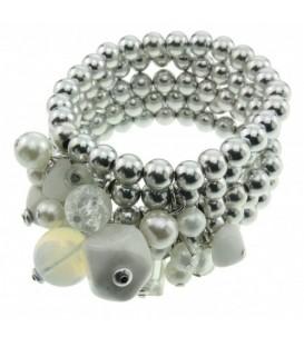 Metalen kralen armband met parel en stenen