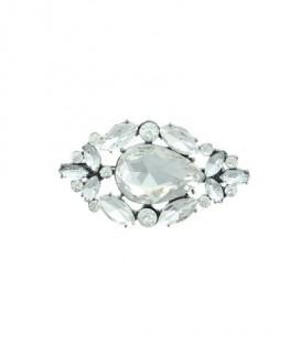 Crystal witte ovale broche