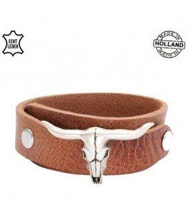 Bruine overlap armband met een buffel