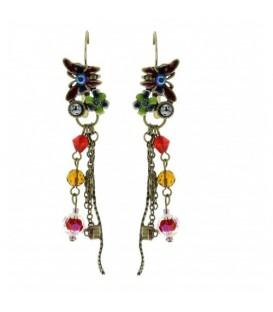 Gekleurde oorbellen met kralen en bedels