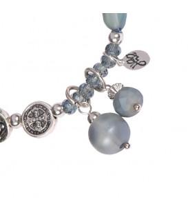 Blauwe armband met kralen en bedels