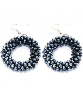 Donkerblauwe kraaltjes oorbellen