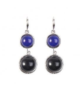 Blauwe trendy oorbellen met mooie stenen