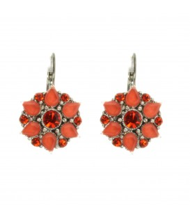 Rood/oranje strass steentjes oorbellen