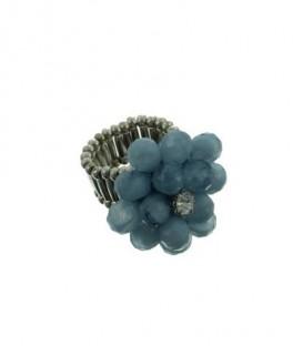 Flexibele ring met lichtblauwe glaskralen bloem