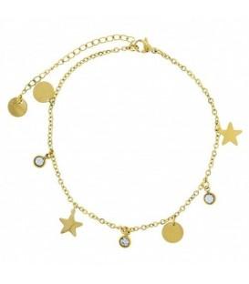 Goudkleurige enkelbandje met sterren en zirkonia steentjes