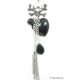 Zilverkleurige halsketting met zwart hart en doodshoofd hanger