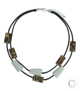 Korte koord halsketting van 2 rijen en bruine ( tijgerprint) en zilverkleurige elementen