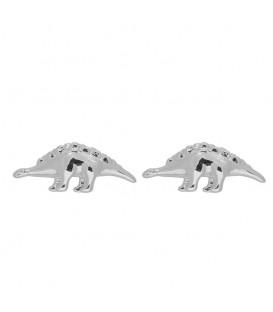 Zilverkleurige dinosaurus oorbellen (Stegosaurus)