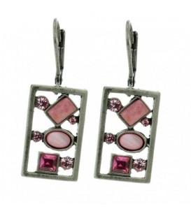 Mooie vierkante oorbellen met roze strass steentjes