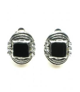 Ovale zwarte oorclips met heldere strass steentjes
