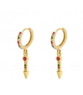 Fijne goudkleurige oorbellen met gekleurde zirkonia steentjes