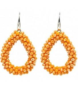 Oranje glaskralen oorbellen