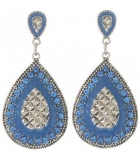 Licht blauwe oorbellen met ovale hanger en strasssteentjes