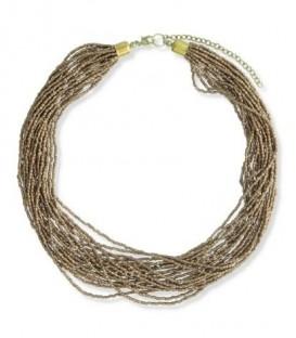 Kralen halsketting met meerdere strengen bronsgoudkleurige seadbeads