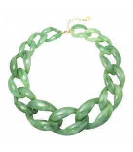 Groene grove schakelhalsketting