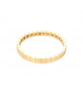 Goudkleurige armband met vierkante metalen kralen