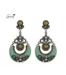 Mooie groene oorbellen met steentjes