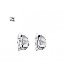 Mooie zilver kleur oorclip met heldere zirconia strass steentjes