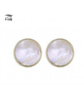 Ronde oorclips met witte parelmoer inleg en goudkleurige zetting