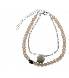 Grijze armband met een natuur stenen bedel