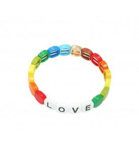 """Gekleurde armband met metalen kralen met ronde randen en de letters """" Love"""""""