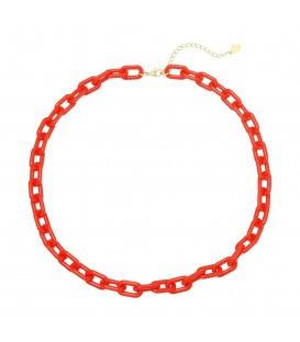 rode halsketting van grote schakels