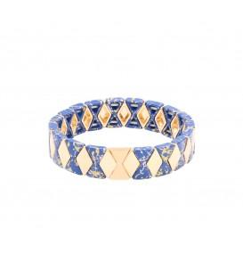 armband met blauwe kralen in marmerprint en goudkleurige kralen