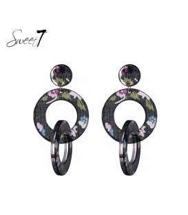 gekleurde oorbellen met 2 ronde hangers en bloemen print