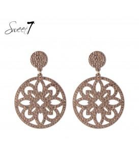 sweet7 oorbellen met ronde hanger en naturel strass steentjes