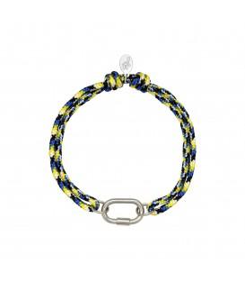 blauwe en gele armband met zilverkleurig detail