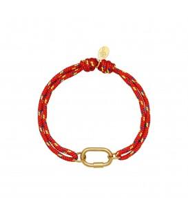 oransje armband met goudkleurig detail