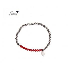 elastische armband met zilverkleurige en rode kralen