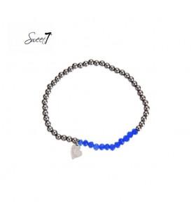 elastische armband met zilverkleurige en felblauwe kralen