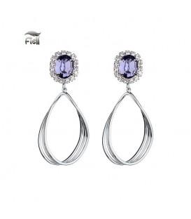 zilverkleurige oorbellen met paarse schitterende steen en gedraaide hanger