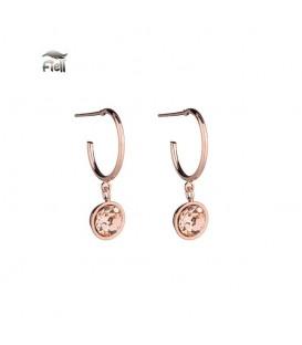 rosegoudkleurige oorbellen met een steentje als hange