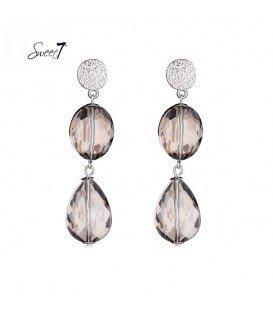oorbellen met twee hangende grijze stenen