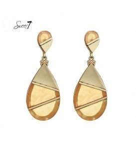prachtige oorbellen met goudkleurig marmerachtig hanger