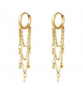 goudkleurige oorbellen met strengen en sterren