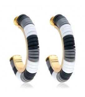 oorbellen van kleine platte kralen in zwart,wit en grijs tinten