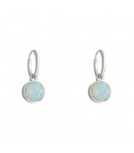 zilverkleurige oorbellen met als hanger een pastelkleurige steen